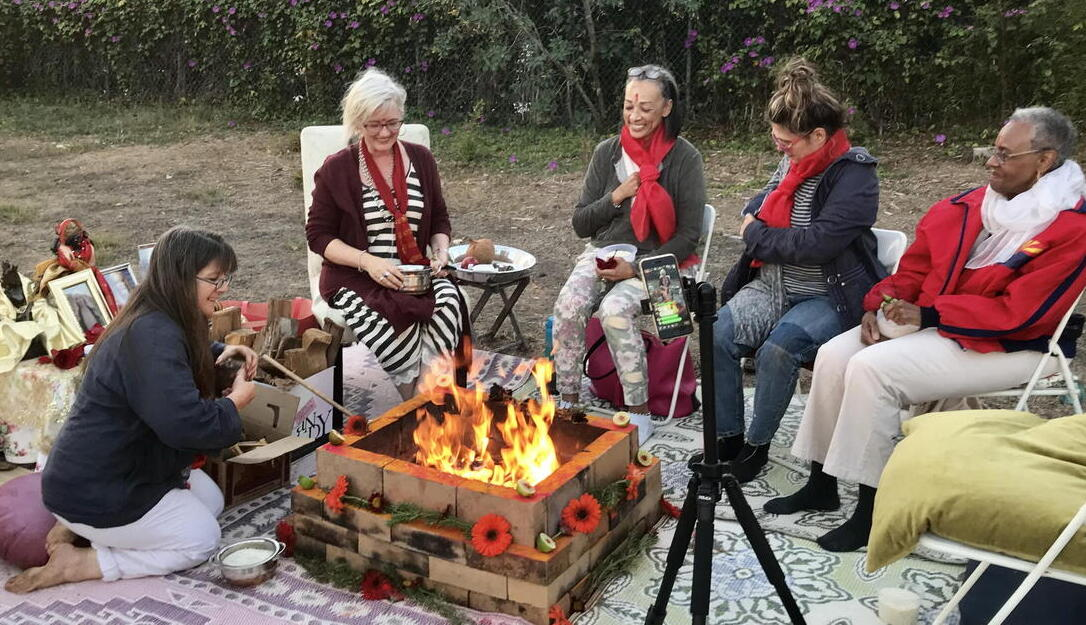 Fire homa moon ceremony Pacific Palisades