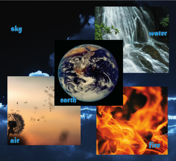 5 elements, sky, air, water, fire, earth
