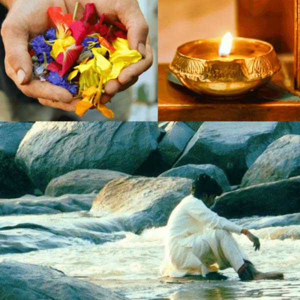 Healing secrets petals, beach and candle