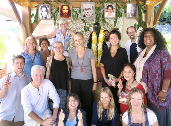 group abishek for Purnima meditation San Diego