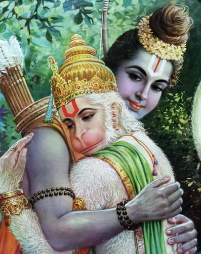 Sould mates ram hanuman hug
