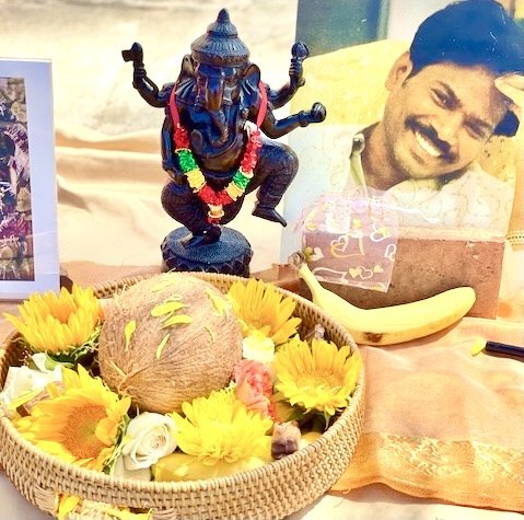 Ganesh fire homa offerings at a private home in San Diego
